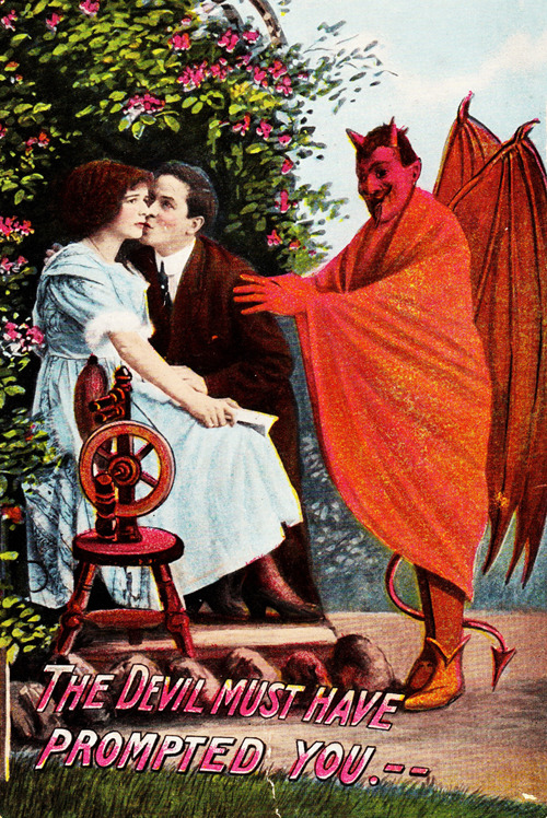 vintagegal:  The Devil Must Have Prompted You! vintage postcard c. 1910  What a cheerful looking Devil - the smiling, happy face of evil!