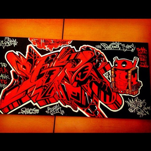 """Deadpool Seres"" #seres2 #blaq #kubik #canvas #deapool #marvel #forsale #art #painting  (Taken with Instagram)"