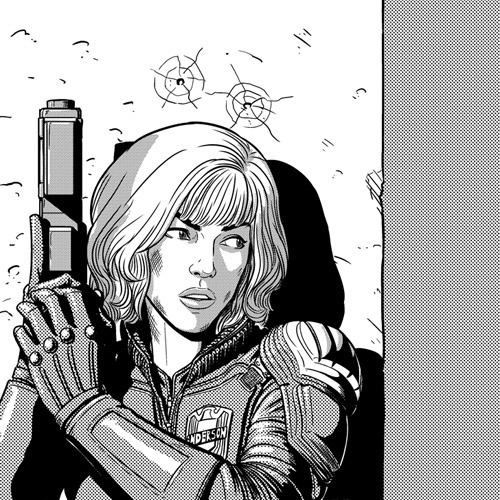 mckelvie:  Warm-up of Judge Anderson (movie version).  Yes. Also, this movie beat the pants off the Stallone one. Go see it.