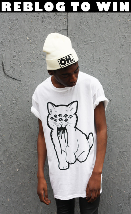 ohhellclothing:  ohhellclothing: HEY U GUYS! LAST CHANCE TO WIN THIS TEE! WINNER CHOSEN TONIGHT AT 9PM!  All you have to do to win this cat tee is follow us and reblog this post! Winner chosen at random on 29/9/2012 OH HELL x www.notahopeinhell.comFB