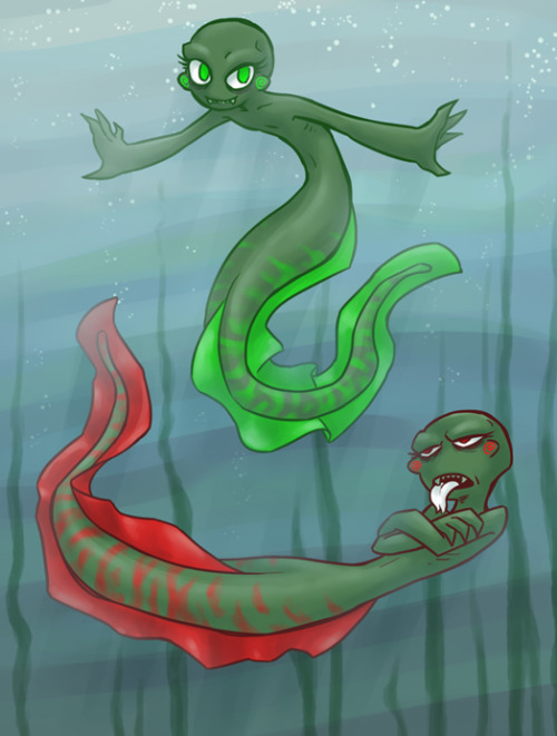 syblatortue:   Anon asked: So I saw the mermaid!stuck AU, and I was wondering, what do you think Caliborn and Calliope would be?  I think moray eels for them~