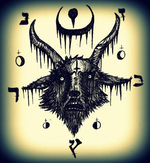 horrible-faces:  My Baphomet I doodle with yesterday. Pretty cool I think, what do you guys say?