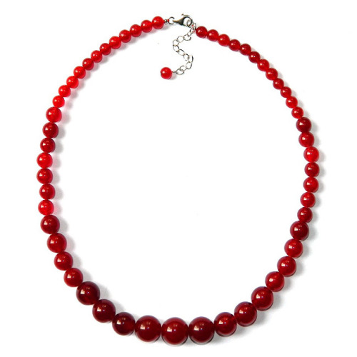 RED QUARTZITE gemstone graduated bead necklace!
