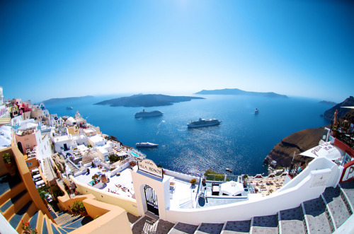 """Santorini Fisheye"" by David Kosmos Smith"