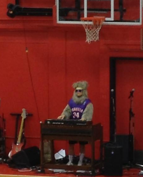 Régine dressed as a sasquatch at the Pop vs. Jock game