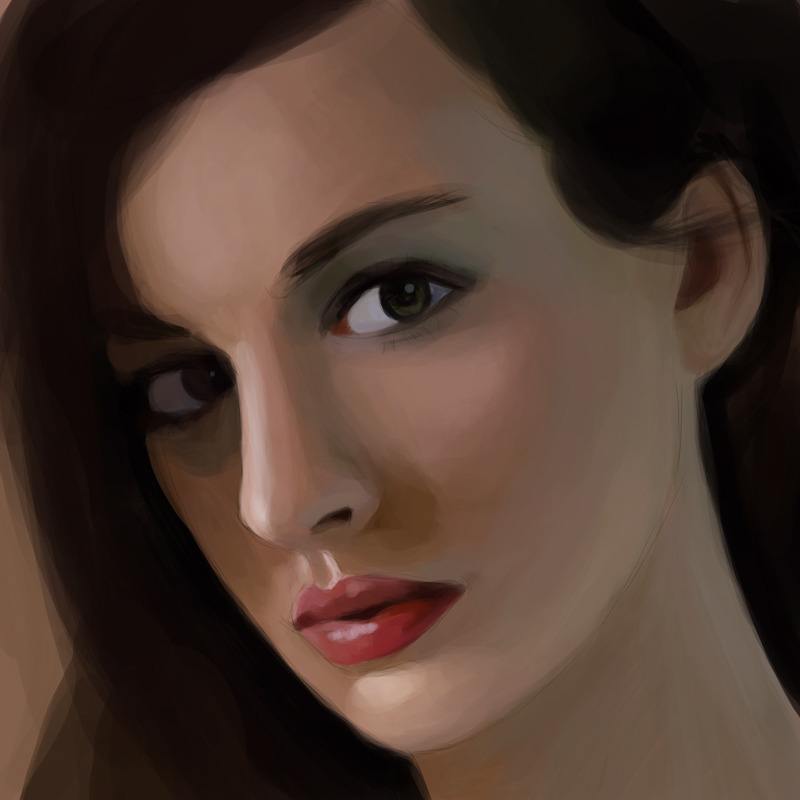Trying to paint my way out of an art funk by drawing Anne Hathaway. I wanted to have a good balance between warm and cold colours. It's not done, yet, But the colours are there.