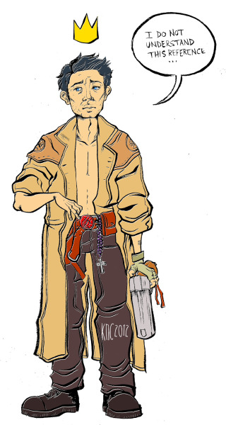 Castiel dressed as Hellboy colored!