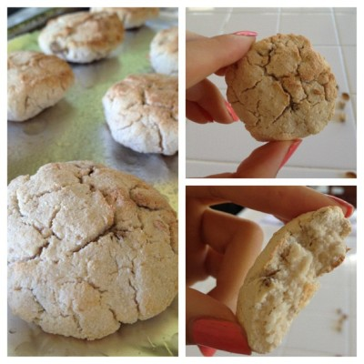 blogilates:  Vegan coconut banana cookies: 1/2 banana mashed, 2 TBS coconut flour, 1/4 cup nondairy milk, 2 tsp Stevia extract, 1/8 tsp baking powder. Mix together and place in oven at 350F for 15-20 min! Almost tastes like a macaroon! Very good. I made 8 mini cookies. Yum!! (Taken with Instagram)