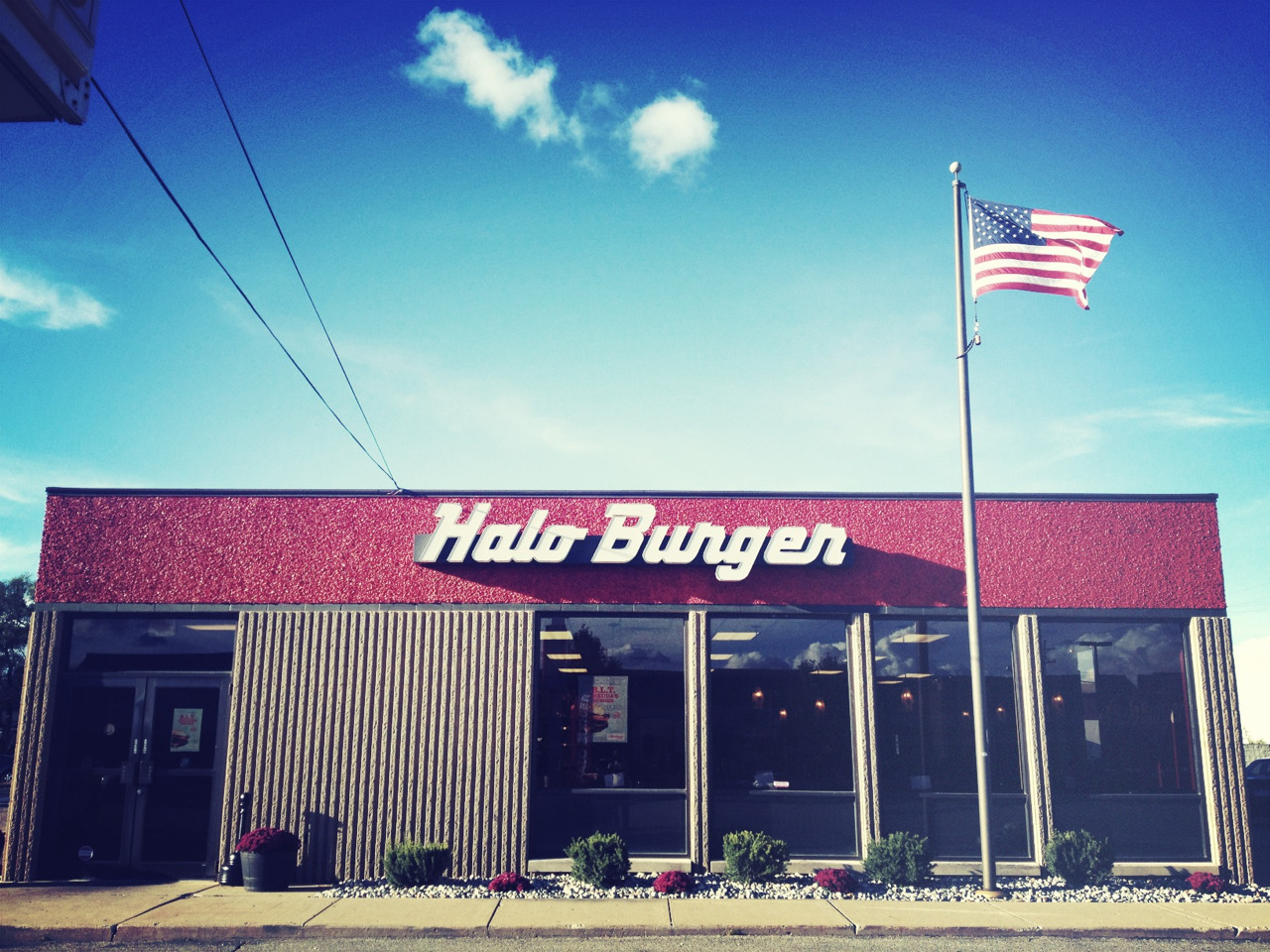 Trying Halo Burger in Flint, Michigan. It looks like its in an old bank.