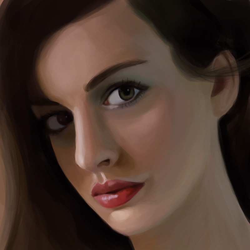 Another work in progress picture of my Anne Hathaway painting, that's much closer to done. Shiny.