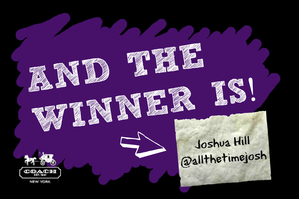 CONGRATS to Joshua Hill (@allthetimejosh), winner of the NEW Coach Bleecker Canvas Utility Tote! Thanks to everyone who participated and check out the Coach website to see where you can snag this awesome bag for yourself. And if you didn't win this time, be sure to stay tuned next week when we will be announcing another great GIVEAWAY! - Anthony & Dustin