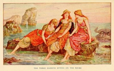 The Orange Fairy BookIllustrations by Henry Justice FordThe three maidens sitting on the rocks