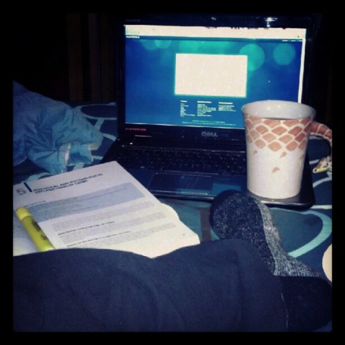 The perfect end to the perfect day <3 Tea, wool socks, pandora, and Crim Justice hw. #perfect  (Taken with Instagram)