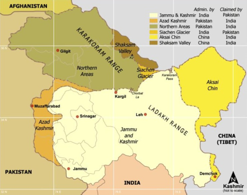southasianhistory:  The disputed areas of the region of Kashmir. India claims the entire erstwhile princely state of Jammu and Kashmir based on an instrument of accession signed in 1947. Pakistan claims all areas of the erstwhile state except for those claimed by China. China claims the Shaksam Valley and Aksai Chin. (via)