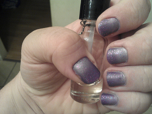 30 Day Nail Challenge - Day 6: Purple Nothing too fancy here. Lighter purple is Pure Ice, darker purple is from Ulta.  Layered with some glitter (don't remember the name or brand) and then NYC's Matte Coat.  Pretty simple, really.  I'm looking forward to the next one - black and white.  STAMPING FTW.  The cleanup on this isn't hot, I'm out of acetone and I'm growing out my hacked up cuticles and whatnot.