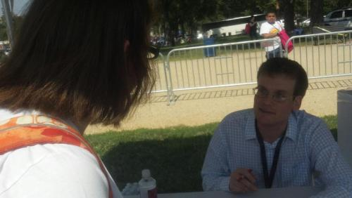 (in the signing line)JOHN: Hi, how's it going?ME: Hi, it's great to see you!JOHN: Thanks for coming.  I love your shirt, by the way.ME: Oh, thanks!JOHN: I'm rather disappointed that they don't have a Nerdfighters For Romney shirt as well.  ME: Yeah, they should…JOHN: I know he's probably not as popular, but about 26% of Nerdfighters are for Romney.  Anyway, thanks! He also signed my awesome, retired library copy of Paper Towns, aka my favorite book in the world.  I only wish he could've personalized it, cos I had an awesome personalization idea.  Oh well.