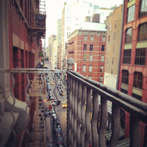 looking north on Mercer St. from a fire escape in Soho