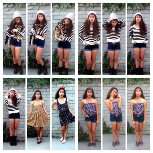 Photoset Número Uno; Fall #outfit top row and 1st on second row: Beanie from F21 x Striped sweater from H&M x DIY mid-waisted shorts x Combat boots ft. Deisel. 2 dresses: from F21 w/ Wedges & Merona sandals. Last outfit: Billabong romper from Beachworks x DIY Mid-waisted shorts x Navy Keds.  (Taken with Instagram at Wrigley Long Beach)