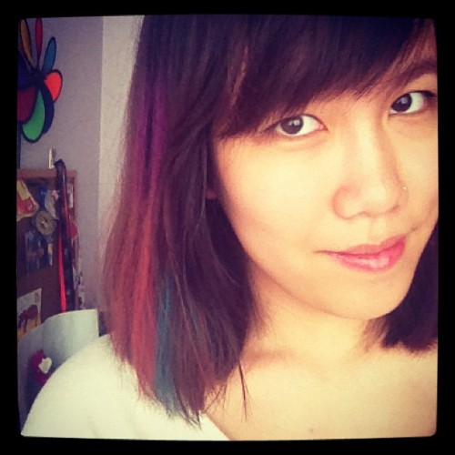 Today's hair chalking! Purple, red, and blue! #colorful #happy 😊 (Taken with Instagram)