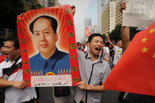 More on the Chinese protests against Japan and discussion of their threat to the CCP leadership here. I think that aspect is a little overblown as it usually is in American reporting on China, but it's still worth watching. The prominence of Mao posters in the protests is pretty striking and in context can only be seen as pretty sharply critical of the current CCP leadership. Incidentally, according to some reports on Leftist Trainspotters there has been substantial PLA presence in the area of at least some of these protests, which would be striking if true. Haven't seen that confirmed in other reports though.