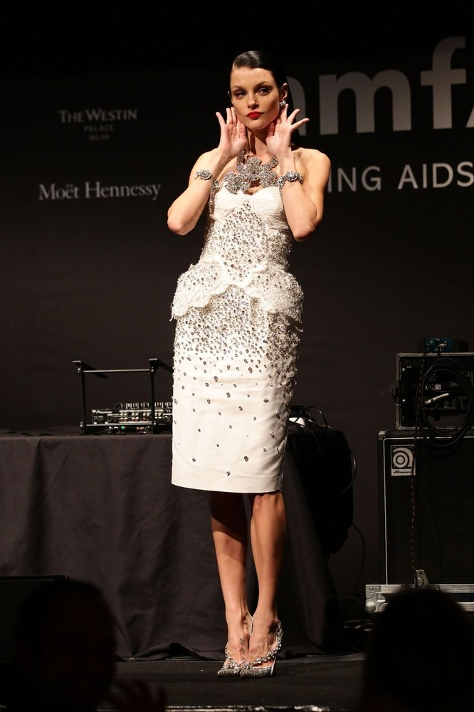 Jessica Stam on stage at the amfAR Milano event during MFW, September 22nd