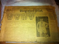 An original newspaper dated May 3, 1912, with articles on the Titanic and some of her passengers. I cried when I received it today, and I will do my utmost to preserve it. If I ever get over the fear of opening it, I will and I'll post what the articles say. The front has an article about President Taft making a speech for Major Archibald Butt, inside I know is an article about J.J. Astor, and I believe another article. Maybe not as great as the New York Times, but this is a beauty in and of itself.