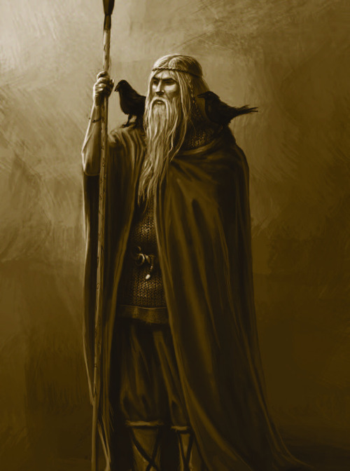 heathentemple:  A illustration of Odin from the rpg book Yggdrasil