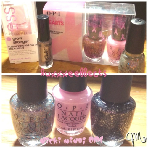 Pickups from this week! Top from left to right: Essie grow stronger Color Club Art Club Solid Silver OPI Pink of Hearts 2012 Breast Cancer Support Set: You Glitter Be Good to Me & I Think in Pink China Glaze Shooting Stars. (This was my first China Glaze ever!) I also picked up half the Nicki Minaj OPI Collection (I know late much..!)Bottom from left to right: Save Me Pink Friday Metallic 4 Life I'll post some pictures & reviews later! Feel free to leave any questions or messages.