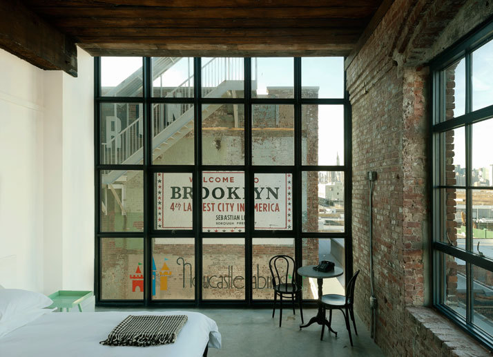 Wythe Hotel Part Two.  An old textile factory gone Brooklyn chic. How very Williamsburg.