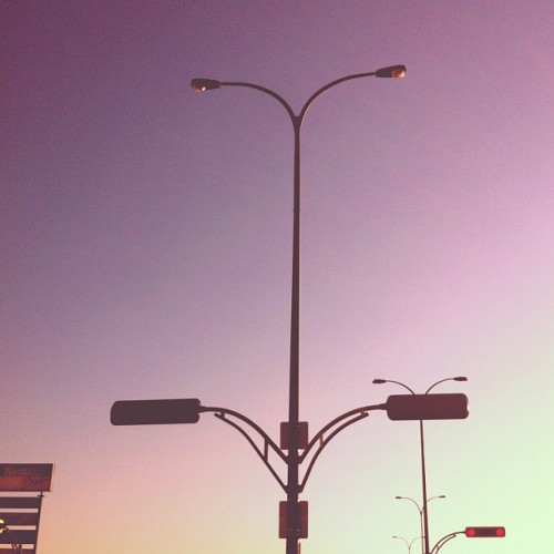 Comme de grands oiseaux! #streetlight #streetlamp #trafficlight #skyporn #sky #sunset #soft #gradient #pastel #contrast #silhouette #purple #line (Taken with Instagram)