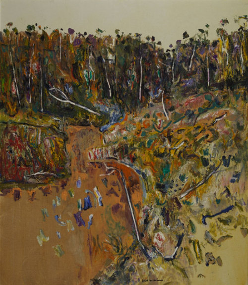 Above:  Fred Williams, Landscape with Goose III , 1974 , oil on canvas.   Last week I went to the Art Gallery of South Australia to see the Fred Williams retrospective exhibition, Fred Williams: Infinite Horizons. Primarily a landscape painter (although he did paint some figurative works), Williams sought to capture the beauty of the Australian landscape. He painted in an abstract manner, and reduced the landscape to its most basic elements in order to capture the essence of place.  Interesting, William's works became less abstract throughout his career, moving towards more recognisable forms, although I find both equally as beautiful.  The work I have included above, Landscape with Goose III (1974) is a work made in the middle of Williams' career. Here the palette is a lot brighter and varied than his earlier works. You are able to see the canvas is broken down into three basic sections; the foreground, comprising what seems to be a creek running through the landscape; a row of trees which is darker and defined by the vertical lines of the trees trunks; and the sky which is calm flat in comparison to the other vibrant and loose elements. These elements give the painting a sense of tradition linear perspective (that is, we feel there is a sense of space and distance, rather than a flat canvas), reinforced by the narrowing of the creek, where the viewer is positioned low in the canvas. Also, the loose sketchy style of the brushstrokes gives it a very impressionistic sensibility and dynamic feel. It is also interesting to the name of this painting: Landscape with Goose III. Can anyone see the Goose? I have seen the painting several times and have been unable to see it! This painting is the third in a series of three, all titled Landscape with Goose. Whilst spotting the Goose in the first two, I have been unable to do so in the third. Perhaps Williams' is pulling our leg here? Setting us up to look for a third Goose that actually isn't even there! It is important to remember that artists are just people, some of which have great senses of humour…