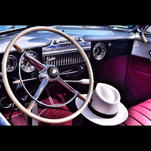 photographybydesign:  Riding in Style… #dashingdashboards #fedora #chrome #steeringwheel #classiccars #carart #carporn #vintage #vintageauto #snapseed #teamrebel #style #socal #caddy #cadillac #convertible #calistyle #cruisingforacure (Taken with Instagram)