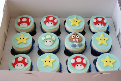gastronomyfiles:  mushrooms, stars and a goomba! (by { coco cake cupcakes })