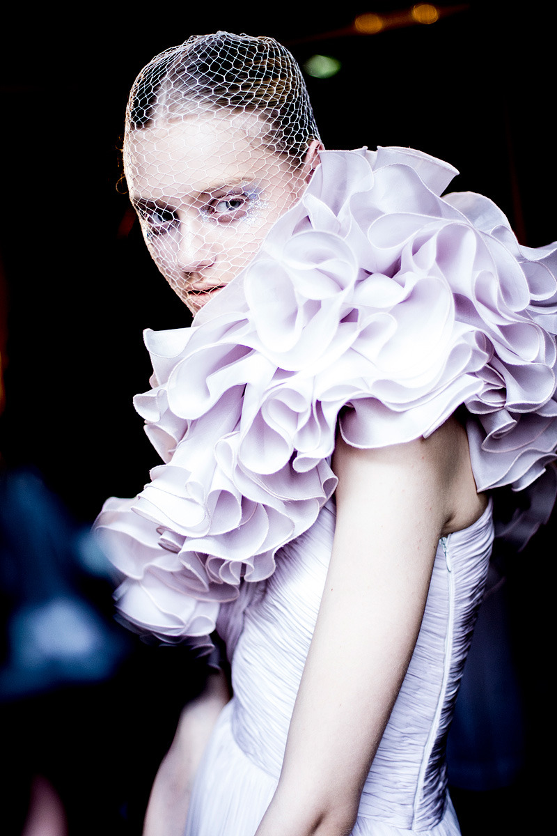 Nastya Kusakina backstage at Giambattista Valli HC Spring 2012