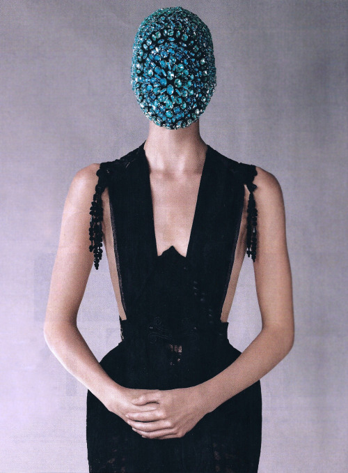 'saving face'- maison martin margiela artisanal in harper's bazaar ph. victor demarchelier, october 2012