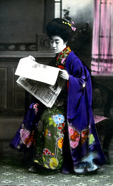 sisterwolf:  Hangyoku Reading a Newspaper - hand-colored postcard, 1910 via