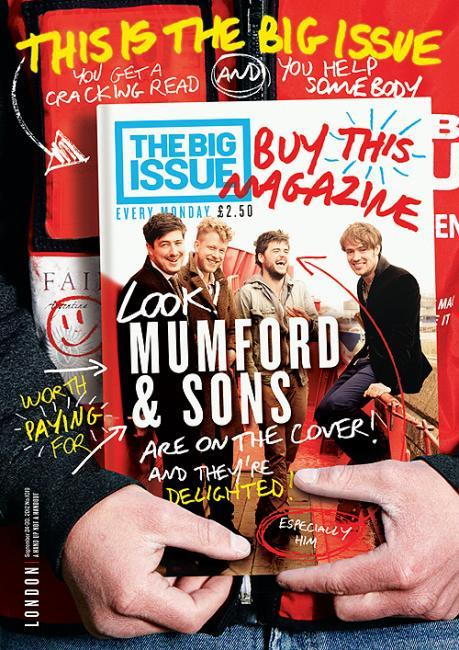 "coverjunkie:   The Big Issue (UK) Very creative! Take a good luck… it's a homeless guy (they sell the mags) holding the new copy.They wanna give it more attention cause their rival Time Out London is going for free this weekNew cover The Big Issue Magazine Art Director: Mark NeilGreat mag concept;""The Big Issue was set up in 1991 to provide homeless and vulnerably housed people with the opportunity to earn a legitimate income.Becoming housed is only the first step on the journey away from the streets, so we allow vendors to continue selling the magazine once they have found accommodation.Big Issue vendors are working, not begging, so if you pay for a magazine please take it."""
