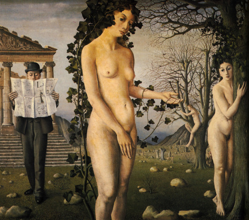 saisonlune:  Paul Delvaux, The Man in the Street