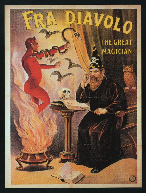 "zombienormal:  Poster for magician Fra Diavolo, or ""Brother Devil."""