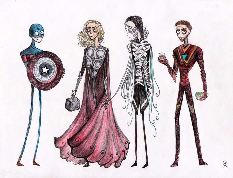'Tim Burtonned' Avengers by la-chapeliere-folle.