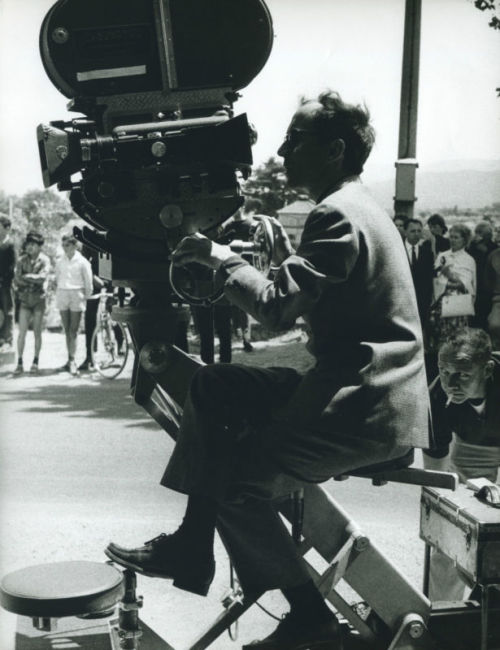 shihlun:  Jean-Luc Godard with camera on the set of Pierrot le Fou, 1964.