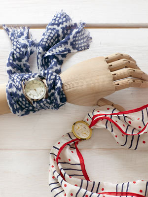 Scarf Watch Band | Country Living I've never really worn watches because I always forget to put them on in the morning but seeing this incredibly easy DIY, maybe I need to start! I've got a few very pretty scarves that I never wear because they're an odd size but they would be perfect as a band. All you need is a watch face - you can get them from craft stores or just chop off the band on an old watch that you don't like anymore!