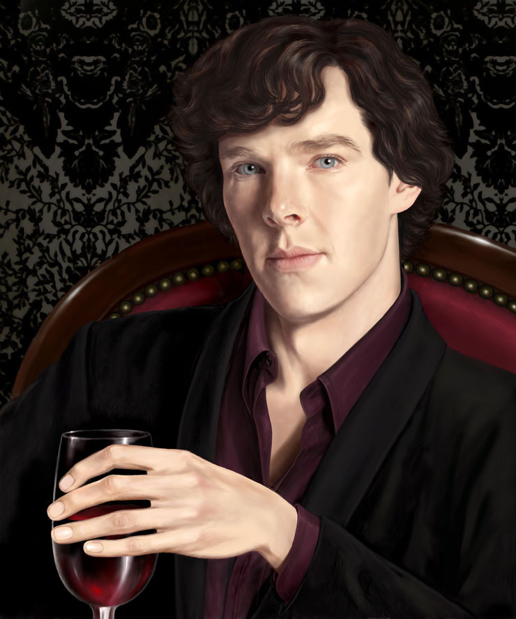 pati79:  atropabelladonna1120:  favoritedarkness:  SHERLOCK HOLMES BBC - CABERNET by ~silvern-geo  Sherlock in a mellow mood. Really beautiful.  mmm—- sexy.