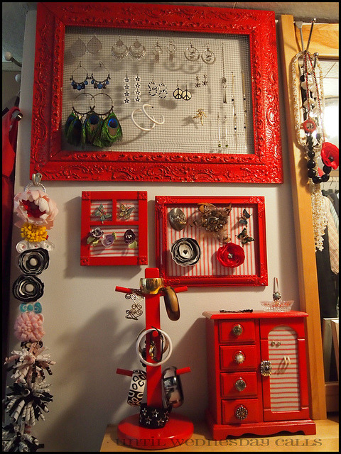 Red-Accessory-Holders on Flickr. My old accessory wall. I have since moved and sadly, this gorgeous apple red colour had to go but as I was perusing Pinterest I came across it and couldn't remember if I had shared. You'll have to excuse the dark photo, this was inside my old closet.