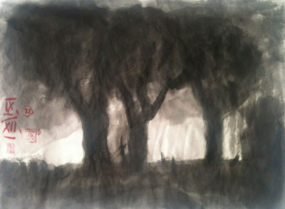 Lichtung, inkwash on Japan paper 33x24cm, Sept/2012 @_blacha_ on Flickr.