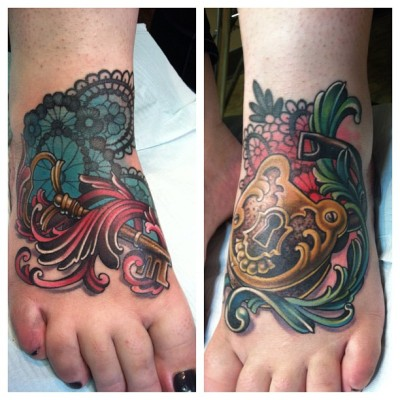 fuckyeahtattoos:  Just got my feet done by the amazing Teresa Sharpe at Studio 13 in Fort Wayne, Indiana. I would seriously go check out her work she's beyond amazing and a really cool lady. I couldn't be more happy with how these turned out.  most craziest tattoo wowza. fuckyeahtattoos is the awesome tumblr for tats love you guys.