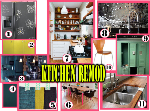 Kitchen/dining area re-mod ideas.  Bigger pic can be found here: http://www.flickr.com/photos/all_about_evelyn/8010162308/sizes/l/in/photostream/ Details by numbers:  1. chalkboard fridge. 2. color that the chairs will be repainted (very similar) & probably the color of the upper shelves that will be in place of cabinets. 3. painted teal cabinets. 4. another teal paint swatch. 5. moodboard type swatches - cabinets, chairs & shelves, drapes (color on white ground?) as seen on A Beautiful Mess. 6. planning on painting some accent on our table neon pink, like these chair legs. 7. basic wall layout - base cabinets (except teal), butcher block counters, tile (mirror tile instead) and wood above with shelves mounted. 8. mirror tile backsplash between the upper plywood wall & the butcher block counters, just like this. 9. the locker cabinet I'll be painting a brighter teal to use as a pantry (integrated with the other cabinets). 10. head of the table chairs x 2, also to be painted the same yellow. 11. butcher block counter tops.
