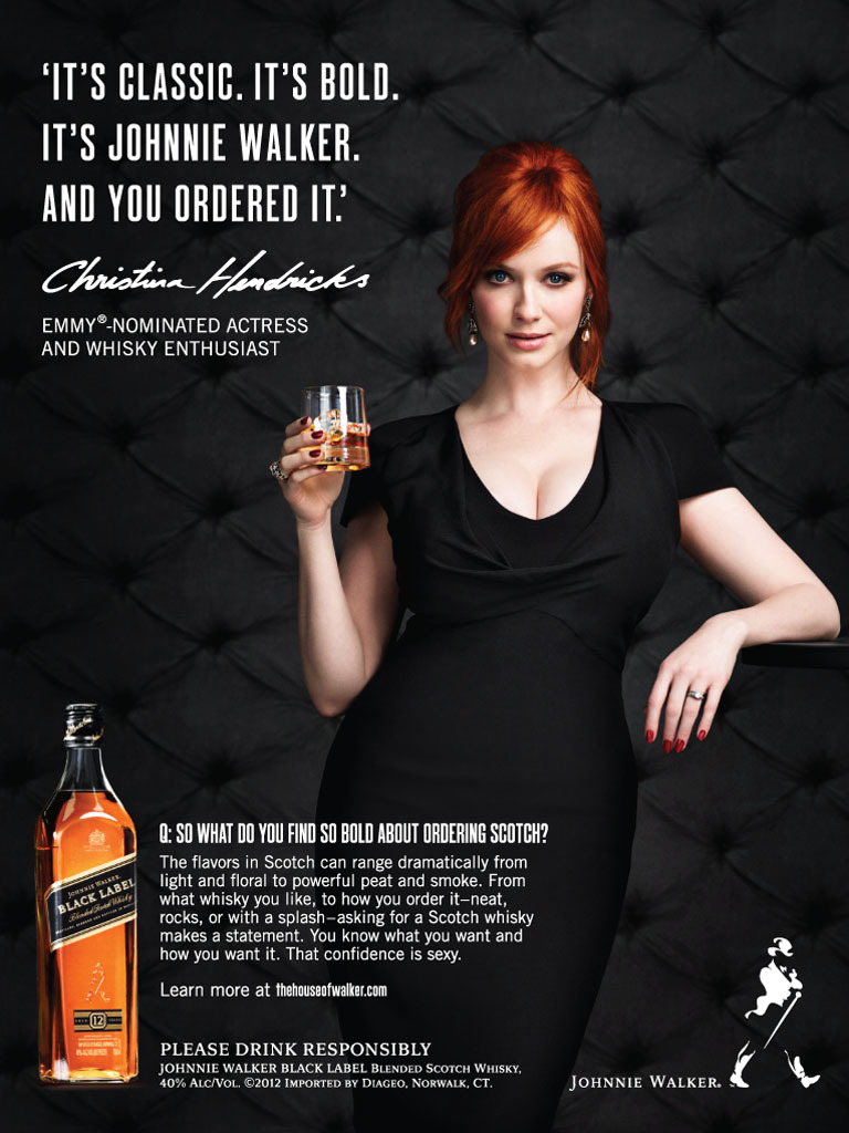 gasstation:  Christina Hendricks for Johnnie Walker