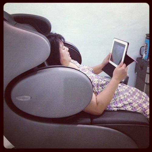 Mom watching dramas while sitting on the massage chair! Haihhh~addicted! (Taken with Instagram at Home❤)