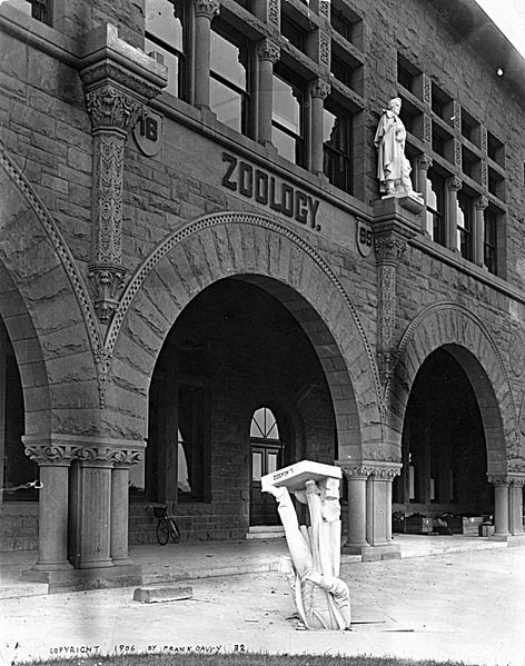 "During the 1906 San Francisco earthquake, a statue of Agassiz fell from its niche on the front of the Stanford University zoology building. Stanford President David Starr Jordan later wrote, ""Somebody – Dr. Angell, perhaps – remarked that 'Agassiz was great in the abstract but not in the concrete.' Wikipedia"